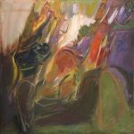 Richard Stout, Cave, 1957, Oil on canvas, 50 in x 50 in., Collection of Robert Summers, Austin, Texas