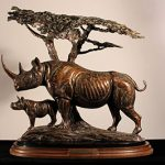 Kent Ullberg, Two Against the World, n.d., Bronze, 15/20, 21.5 in. x 21.5 in. Gift of the Cora T. Keeler Estate Art Museum of South Texas Permanent Collection