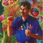 Alfred J. Quiroz, No Soy Chicano, Soy Aztlano. (I am not a Chicano, I am an Aztlano.), 1998, oil on canvas, 60 in. x 46 in., Collection of Joe A. Diaz