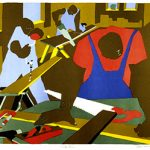 Jacob Lawrence (American, 1917-2000), Carpenters, 1977 Offset lithograph on Rives BFK, 26 in. x 29 1/2 in. From the Herchinger Collection