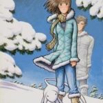 Mark Crilley, Miki Standing in Snow, 2008, mixed media, 17 in. x 21 in., from front cover of Miki Falls - Winter