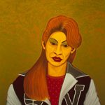 Cesar Martínez, Sylvia with Chango's Letter Jacket, 2000, oil on canvas, 54 in. x 44 in., From the Collection of Cheech Marin