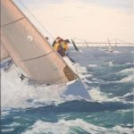Laurie Regan Chase, Crossing the Finish, Signature Member, ASMA, 20 in. x 16 in., oil on canvas